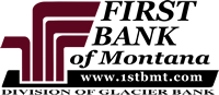 First Bank of Montana logo - www.1stbmt.com - Division of Glacier Bank