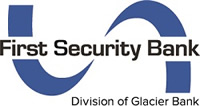 First Security Bank logo with blue ribbon - Division of Glacier Bank