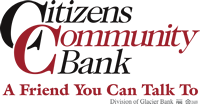Citizens Community Bank logo - A Friend You Can Talk To - Division of Glacier Bank